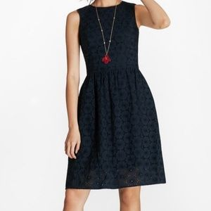Brooks Brothers Navy Blue Eyelet Fit & Flare Dress